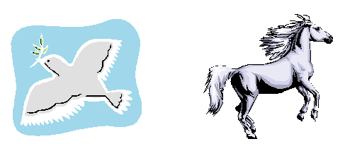 A drawing of a dove next to a drawing of a horse